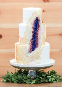 Stunning geode cake in the reception room at Events At Hemlock Springs.