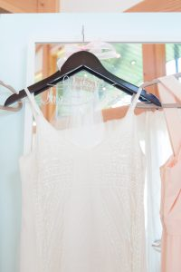 Beautiful bridal gown hanging in the Bridal Suite at Events at Hemlock Springs.